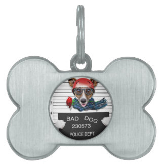 Funny jack russell ,Mugshot dog Pet ID Tag