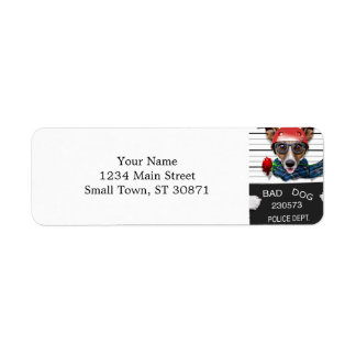 Funny jack russell ,Mugshot dog Return Address Label