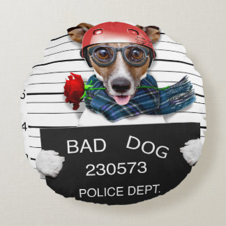 Funny jack russell ,Mugshot dog Round Cushion