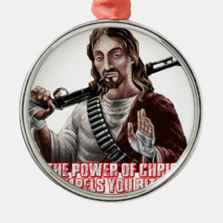 Funny jesus christmas tree ornament