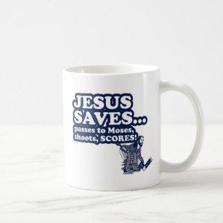 Funny Jesus Hockey Basic White Mug