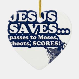 Funny Jesus Hockey Ceramic Heart Decoration