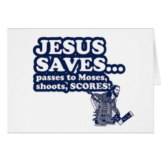 Funny Jesus Hockey Greeting Card