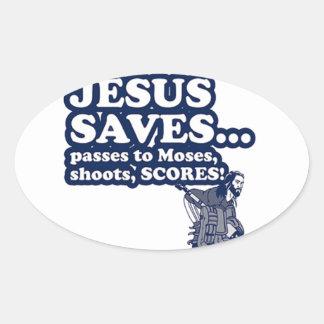 Funny Jesus Hockey Oval Sticker