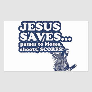 Funny Jesus Hockey Rectangular Sticker