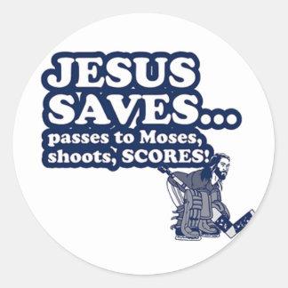 Funny Jesus Hockey Round Sticker