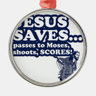 Funny Jesus Hockey Silver-Colored Round Decoration