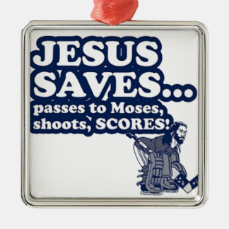 Funny Jesus Hockey Silver-Colored Square Decoration