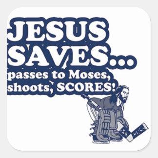 Funny Jesus Hockey Square Sticker