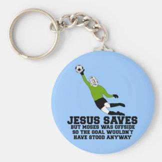 Funny Jesus saves Basic Round Button Key Ring
