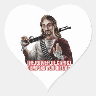 Funny jesus heart stickers