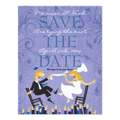 Funny Jewish Hora Chair Dance Save The Date Card