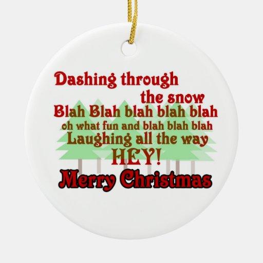Funny Jingle Bells Merry Christmas Ornament