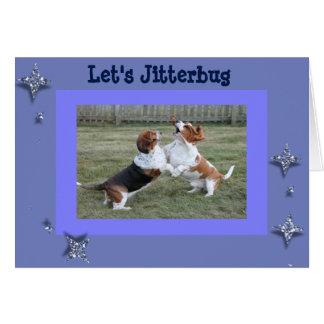 Funny Jitterbug Birthday Card w/Dancing Bassets