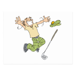 funny jumping for joy golfer postcard