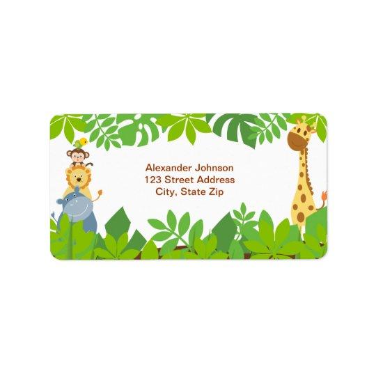 Funny Jungle Baby Animals Address Label
