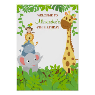 Funny Jungle Baby Animals Birthday Party Poster