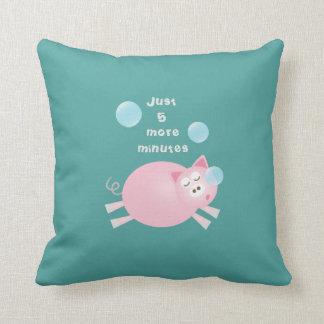 Funny Just 5 More Minutes Dream Big Sleepy Pig Cushion