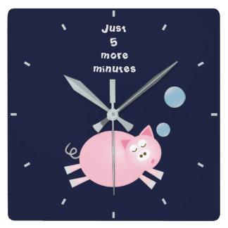 Funny Just 5 More Minutes Dream Big Sleepy Pig Square Wall Clock