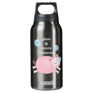 Funny Just Five More Minutes Dream Big Sleepy Pig Insulated Water Bottle
