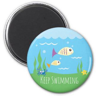 Funny Just Keep Swimming Underwater Ocean Fish 6 Cm Round Magnet