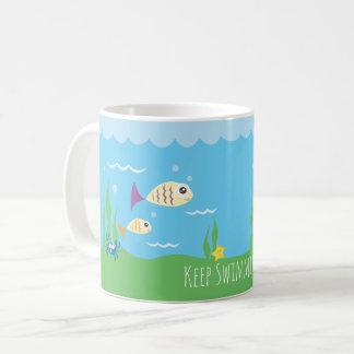 Funny Just Keep Swimming Underwater Ocean Fish Coffee Mug