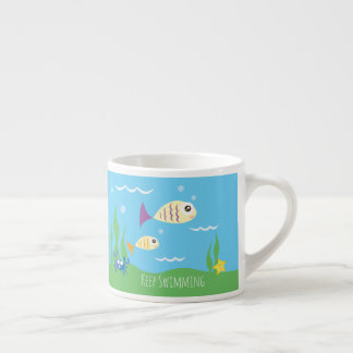 Funny Just Keep Swimming Underwater Ocean Fish Espresso Cup