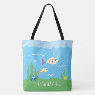 Funny Just Keep Swimming Underwater Ocean Fish Tote Bag