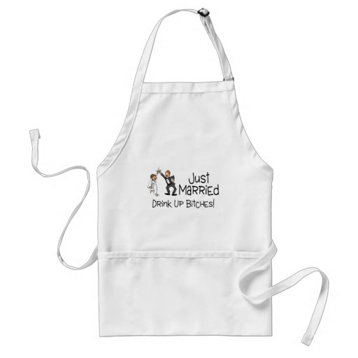 Funny Just Married Wedding Toast Apron