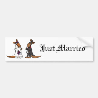 Funny Kangaroo Bride and Groom Wedding Design Car Bumper Sticker