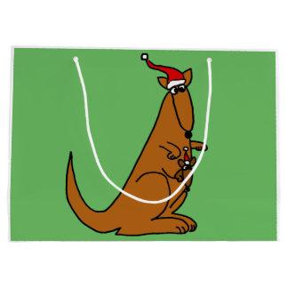 Funny Kangaroo in Santa Claus Hat Large Gift Bag