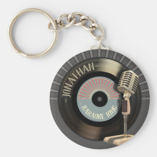 Funny Karaoke King Retro Record Key Ring