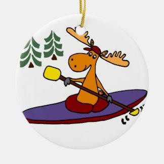 Funny Kayaking Moose Ceramic Ornament