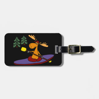 Funny Kayaking Moose Luggage Tag
