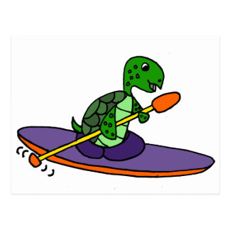 Funny Kayaking Sea Turtle Postcard
