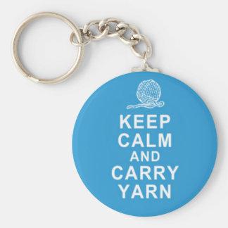 Funny Keep calm and carry yarn KEYCHAIN