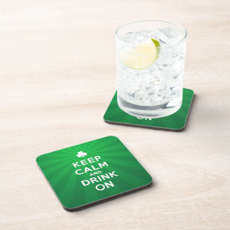 Funny Keep Calm and Drink On St. Patrick coasters