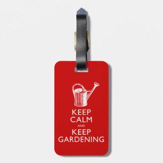 Funny Keep Calm and Keep Gardening Gardener's Luggage Tag