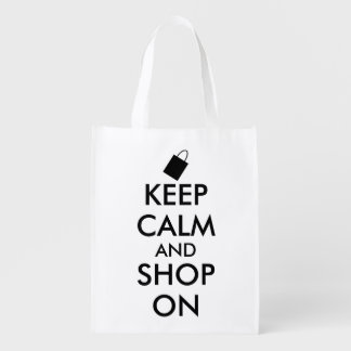 Funny Keep Calm and Shop On Custom Shopping Bag