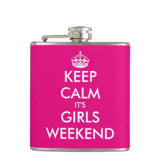 Funny keep calm its girls weekend hip flask