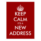 Funny keep calm moving postcard for new address