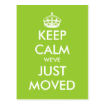 Funny keep calm moving postcard for new home