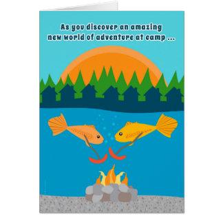 Funny Kids at Summer Camp Fish Roasting Weenies Card