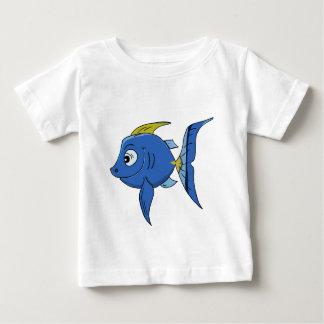 Funny kids cartoon blue and yellow angle fish baby T-Shirt