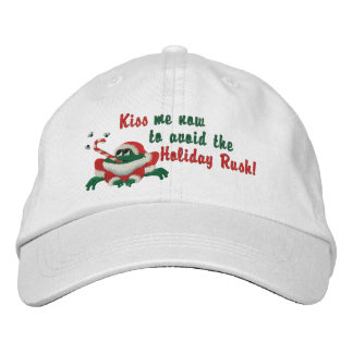 Funny Kiss Me Now Frog Embroidered Hats