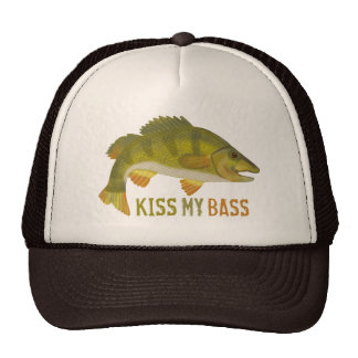 Funny Kiss My Bass Fish Fishing Angler Humor Cap