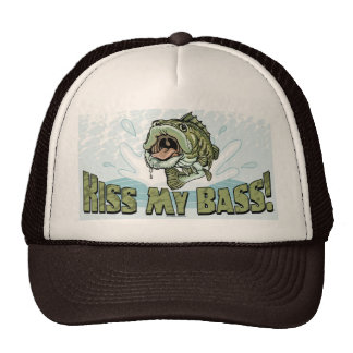 Funny Kiss My  Bass Gift Ideas for Fishermen Cap