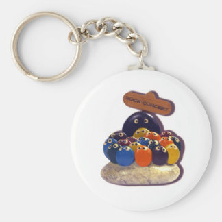 FUNNY KITSCH PET ROCK CONCERT  1970'S BASIC ROUND BUTTON KEY RING