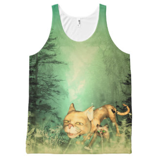 Funny kitten with baby cat in the wood All-Over print tank top