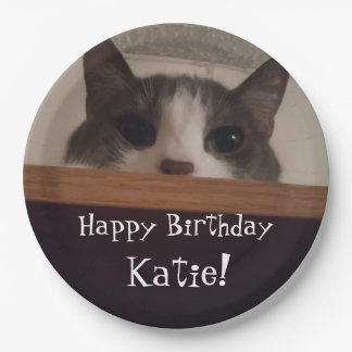 Funny Kitty Cat Peeking Out Personalized Birthday Paper Plate
